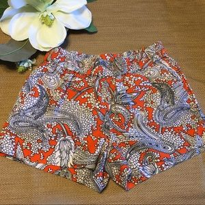 J Crew Orange Linen & Cotton Paisley Board Shorts